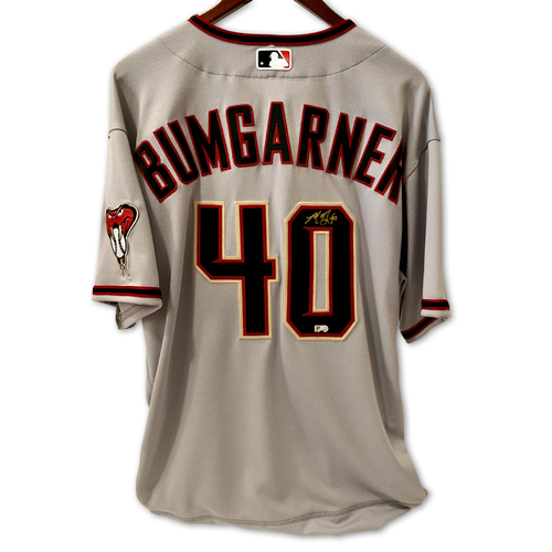 Photo of Madison Bumgarner Autographed Road Gray Jersey