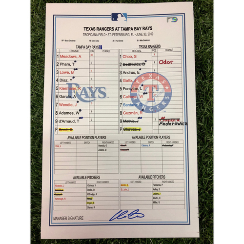 Game Used Lineup Card: Blake Snell (W, 6.0IP, 12 SO) - Tommy Pham (13) and Joey Gallo (20) Home Runs - June 30, 2019 at TEX