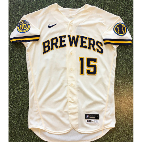 Photo of Tyrone Taylor 2020 Team-Issued Home Cream Jersey (Authenticated 09/14/20 Gm1 - Scored Game-Tying Run)