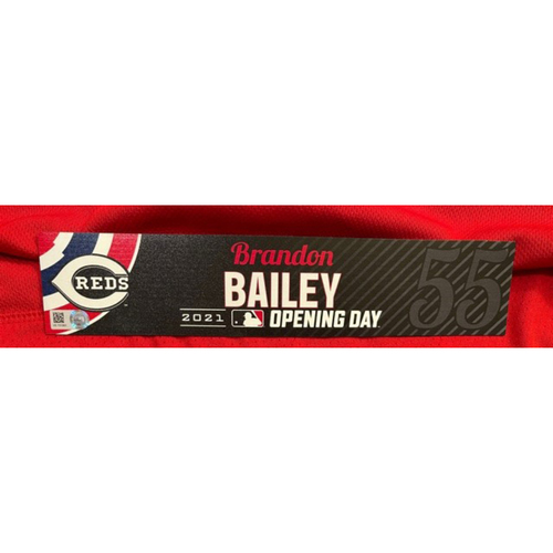 Photo of Brandon Bailey -- 2021 Opening Day Locker Tag -- Team-Issued -- Cardinals vs. Reds on 4/1/21