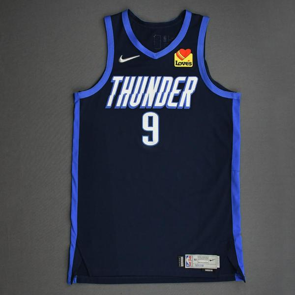 Image of Moses Brown - Oklahoma City Thunder - Game-Worn Earned Edition Jersey - Recorded a Double-Double - 2020-21 NBA Season