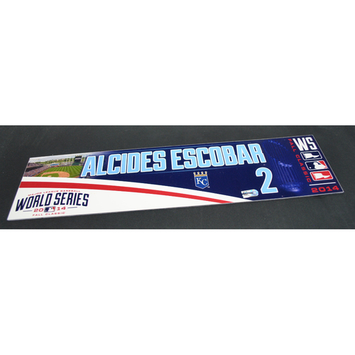 Photo of Game-Used Locker Name Plate - 2014 World Series Game 3 - Kansas City Royals vs. San Francisco Giants - Alcides Escobar (Kansas City Royals)