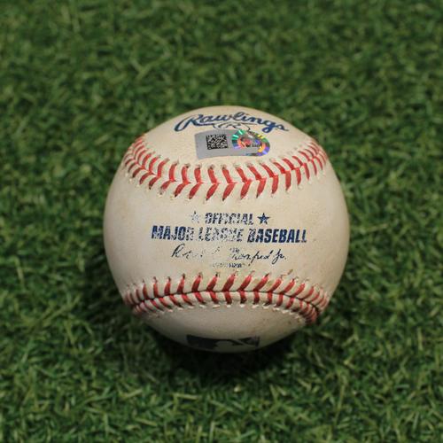 Photo of Game-Used Baseball: Starling Marte 1,241st Career Hit & Matt Olson 502nd Career Hit (OAK@KC 9/15/21)
