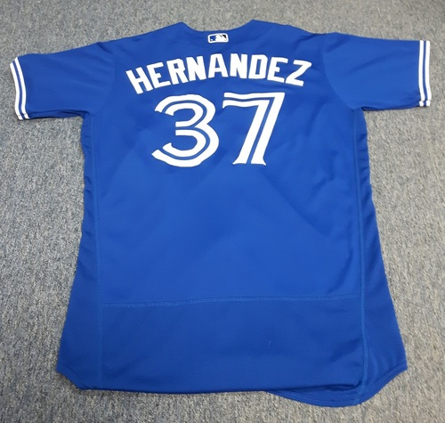 Authenticated Game Used Jersey - #37 Teoscar Hernandez: 2 Home Run Game; 1st 2 HRs as a Blue Jay (September 10, 2017). Size 46.