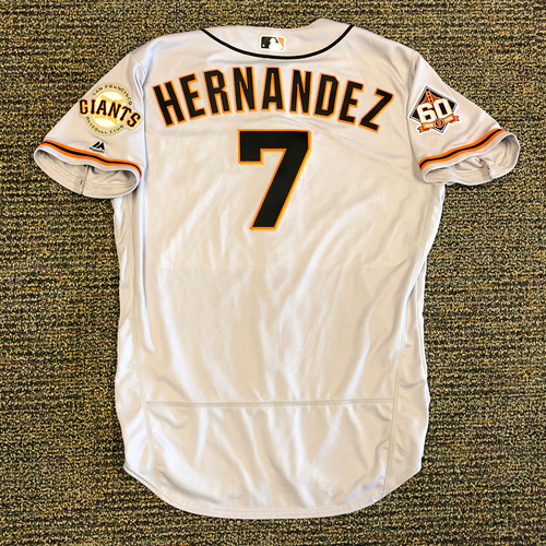 Photo of San Francisco Giants - 2018 Opening Day Game-Used Road Jersey - Worn by #7 Gorkys Hernandez on 3/29/2018 vs. the Los Angeles Dodgers - Jersey Size 48