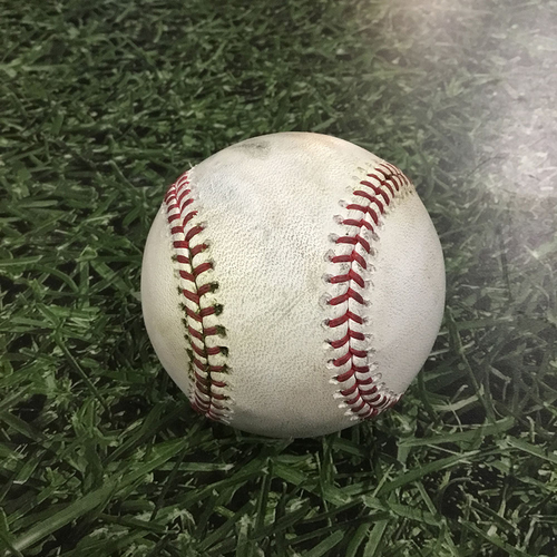 Photo of Game-Used Baseball MIA@MIL  04/19/18 - Junichi Tazawa - Lorenzo Cain: RBI Double