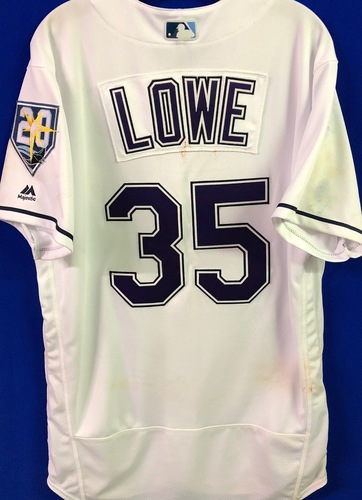 Photo of 20th Anniversary Game Used Devil Rays Jersey: Brandon Lowe (H, R, RBI) - September 8 v BAL