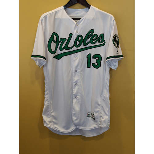 Photo of Manny Machado Game-Used & Autographed Earth Day Jersey & Cap Worn on April 22, 2018 vs Cleveland. Jersey Worn During Innings 7-9. Size 50. Machado went 3-4 w/ 2 Homeruns. Jersey is both autographed and game-used. Cap is game-used only.