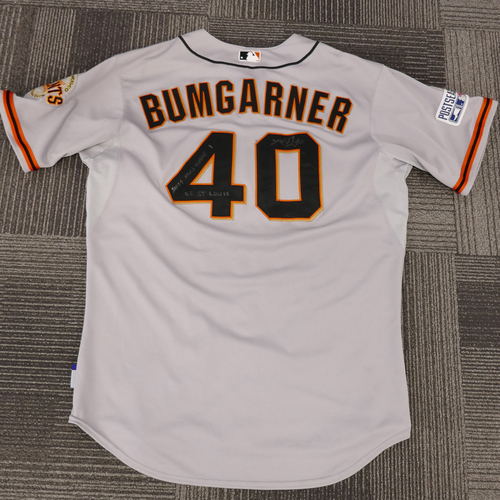 Photo of 2014 Postseason Game Used & Autographed Jersey (Size 50) - NLCS Game 1 @ St. Louis Cardinals - Used, Autographed, and Inscribed by 2014 NLCS & WORLD SERIES MVP #40 Madison Bumgarner - LAST #40 POSTSEASON JERSEY IN STOCK!