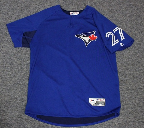 Photo of Authenticated Team Issued Batting Practice Jersey - #27 Dwight Smith Jr. Size L. Part of Sleeves cut off.