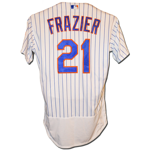 Photo of Todd Frazier #21 - Game Used White Pinstripe Home Jersey - Mets vs. Marlins - 9/13/18