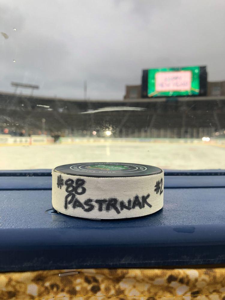 David Pastrnak Boston Bruins 2019 Winter Classic Game-Used Goal Puck