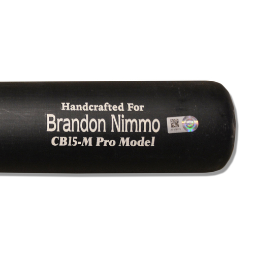 Photo of Brandon Nimmo #9 - Team Issued Full Black and Beige Marucci Bat - 2018 Season