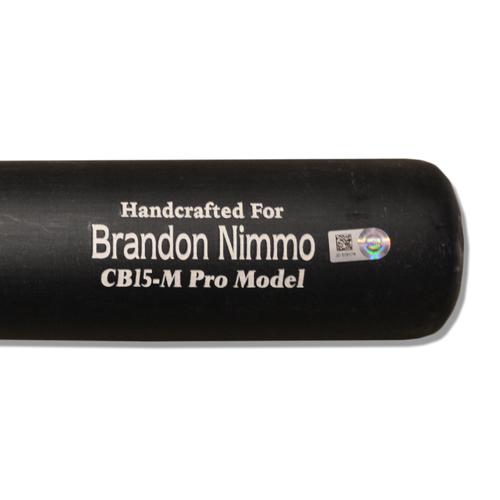 Photo of Brandon Nimmo #9 - Team Issued Full Black and Beige Marucci Bat - 2018 Season