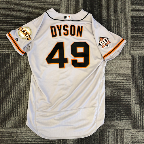 Photo of 2018 Game Used Road Jersey worn by #49 Sam Dyson on 3/29 vs. Los Angeles Dodgers - Size 46