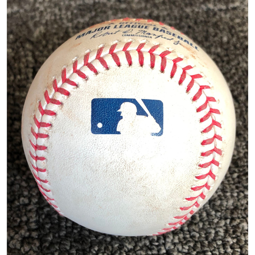Photo of 2019 Game Used Baseball used on 5/14/19 vs Toronto Blue Jays - T-4: Tyler Beede to Vladimir Guerrero Jr. - Pitch in the Dirt [1st & 2nd Career HR Game]