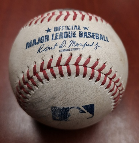 Photo of Authenticated Game Used Baseball - Single by Manny Machado against Trent Thornton (May 24, 19 vs SDP). Top 3. MLB Debut game for Cavan Biggio and Josh Naylor