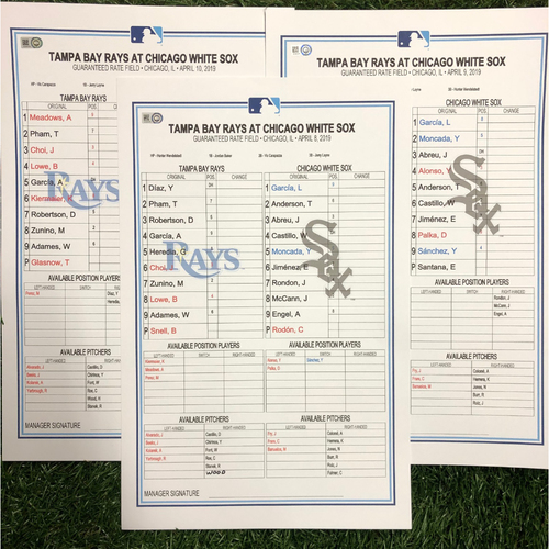 Replica LineUp Cards: April 8-10, 2019 at CWS