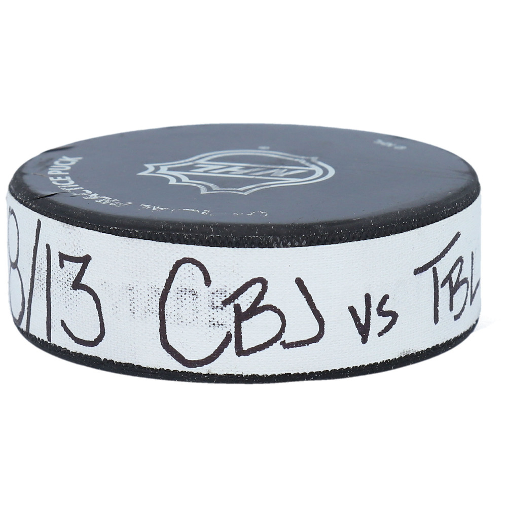 Practice-Used Puck from the Game Between the Columbus Blue Jackets and Tampa Bay Lightning on August 13, 2020