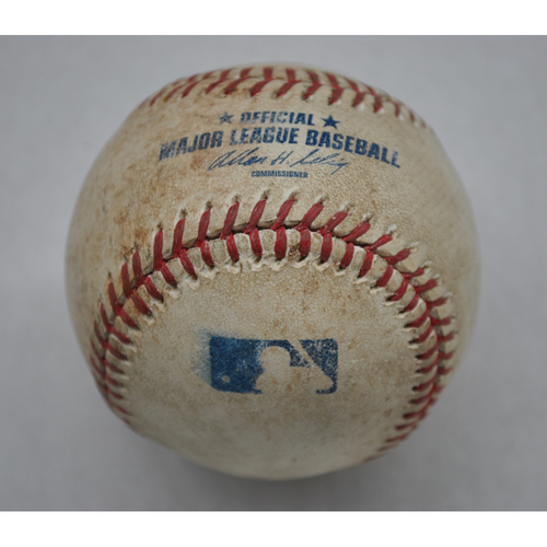 Photo of Game-Used Baseball - WSH at NYM - 4/8/11 - Picher - R.A. Dickey, Batter - Ryan Zimmerman, 3rd Inning, Pitch In The Dirt - Opening Day
