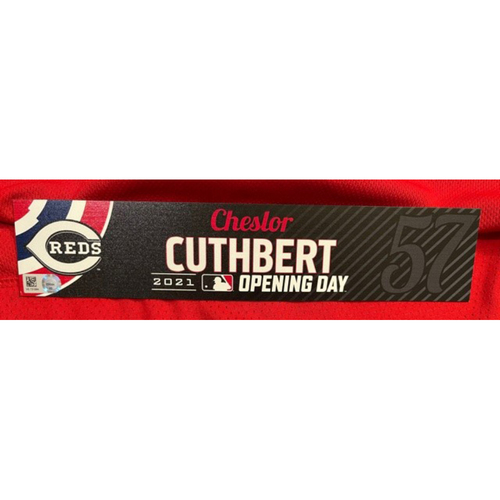 Photo of Cheslor Cuthbert -- 2021 Opening Day Locker Tag -- Team-Issued -- Cardinals vs. Reds on 4/1/21