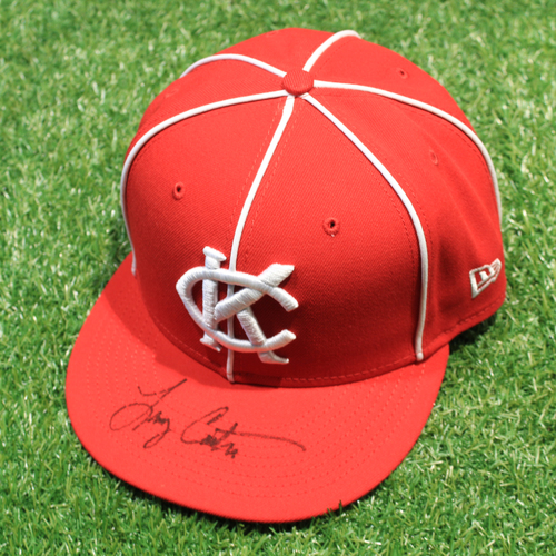 Photo of Game-Used & Autographed Hat: Larry Carter #34 (DET @ KC 5/23/21) - Size 7 3/4