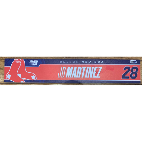 Photo of JD Martinez August 10, 2021 and August 21, 2021 Game Used Locker Tag