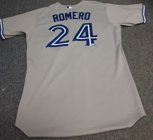 Photo of Authenticated Game Used Jersey - #24 Ricky Romero (August 28, 2012): 7 IP, 5 Hits, 2 ER, 2 Walks, 2 Ks (Losing Pitcher). Size 48.