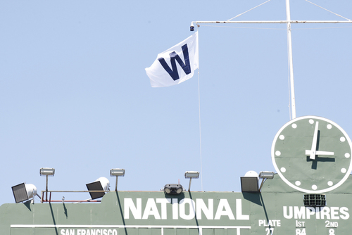 Photo of Wrigley Field 'W' Flag -- Lester 2nd Win (6 IP, 0 ER, 7 K), Heyward 2nd HR -- Cardinals vs. Cubs -- 4/19/18
