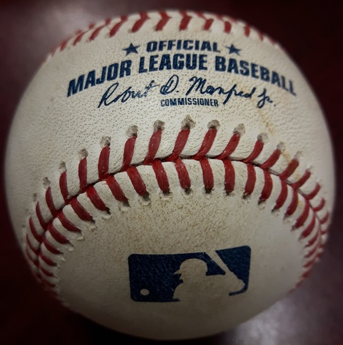 Photo of Authenticated Player Collected Baseball - Mark Trumbo Home Run (#3 of the Season) vs John Axford on June 7, 2018 (Top 8)