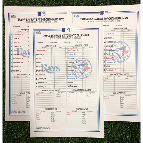 Replica LineUp Cards: April 12-14, 2019 at TOR