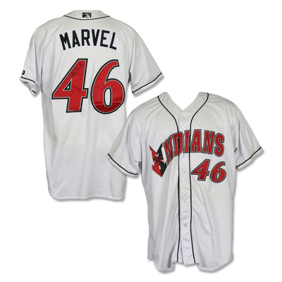 #46 James Marvel Autographed Game Worn Home White Jersey