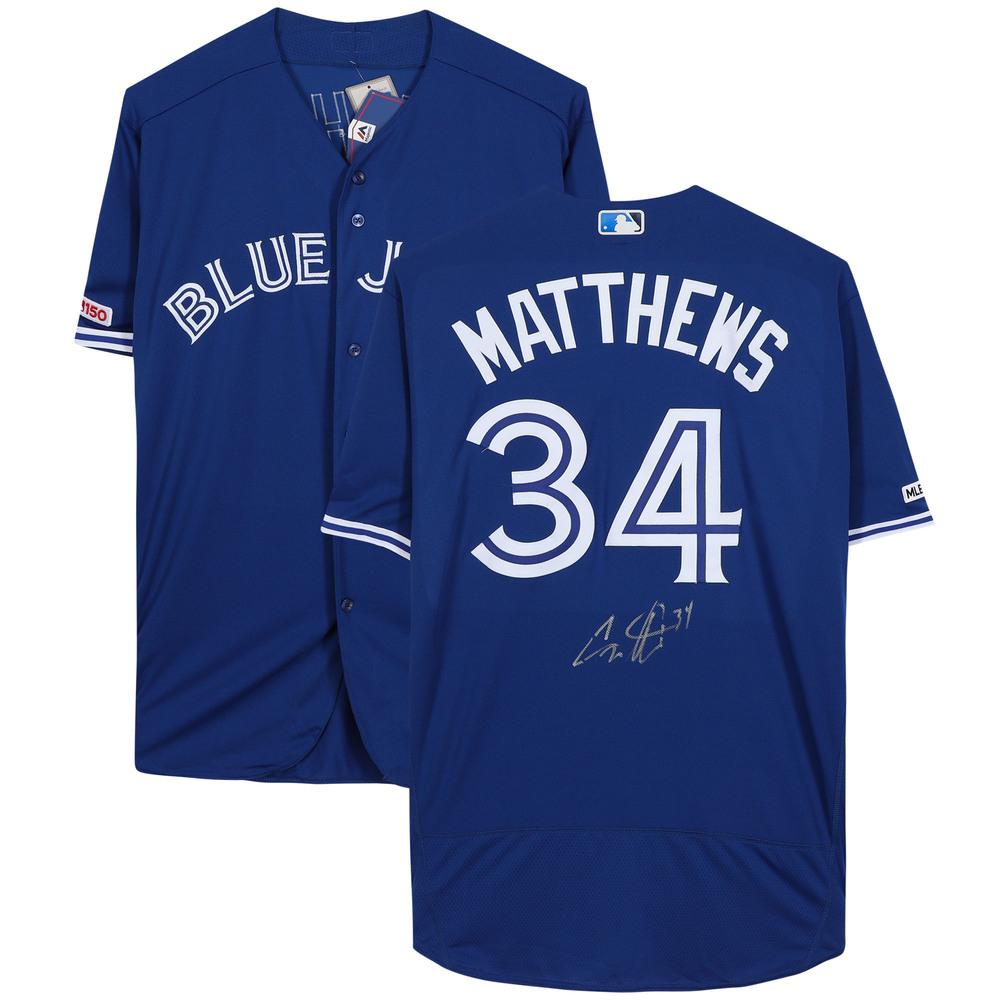 Auston Matthews Toronto Maple Leafs Autographed Toronto Blue Jays Blue Majestic Authentic Jersey