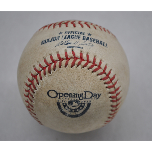 Photo of Game-Used Baseball - BAL at BOS - 4/8/13 - Boston Red Sox Opening Day