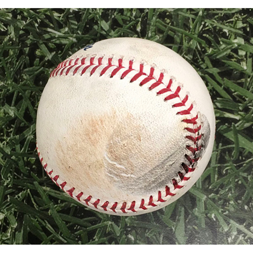 Photo of Game-Used Baseball SF@MIL 07/14/19 - Jhoulys Chacin - Evan Longoria: Single