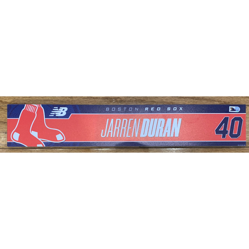 Photo of Jarren Duran August 10, 2021 and August 21, 2021 Game Used Locker Tag