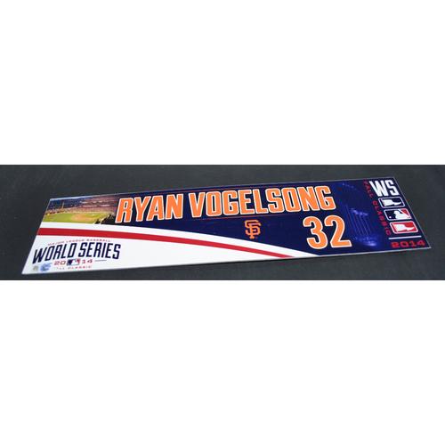 Photo of Game-Used Locker Name Plate - 2014 World Series Game 2 - Kansas City Royals vs. San Francisco Giants - Ryan Vogelsong (San Francisco Giants)