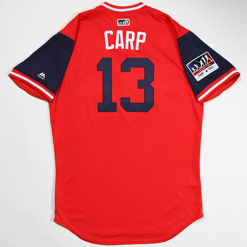 "Photo of Matt ""Carp"" Carpenter St. Louis Cardinals Game-Used 2018 Players' Weekend Jersey"