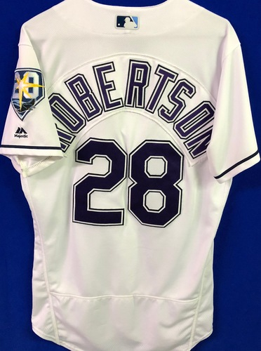 Photo of 20th Anniversary Game Used Devil Rays Jersey: Daniel Robertson (H, 2R, 2RBI) - March 31 v BOS, June 9 v SEA and June 23 v NYY