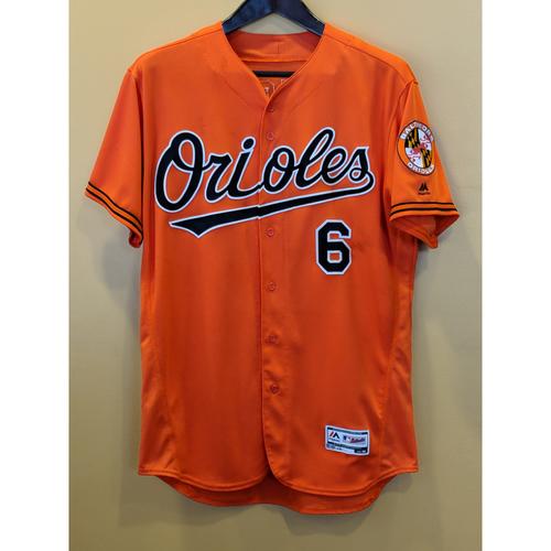 Photo of Jonathan Schoop Game-Used Orange Alternate Jersey Worn on July 13, 2018 vs Texas, Schoop went 2-5. Size 48.