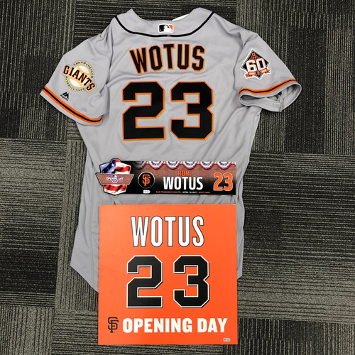 Photo of 2018 Game Used Road Jersey (5/29/18), 2017 Opening Day Locker Tag & 2016 Ceremony Disk - #23 Ron Wotus - Size 48