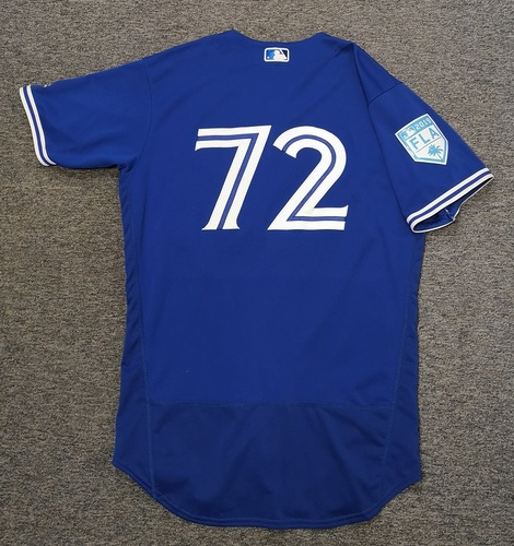 Photo of Authenticated Game Used 2019 Spring Training Jersey - #72 Santiago Espinal (Mar 25). Size 44