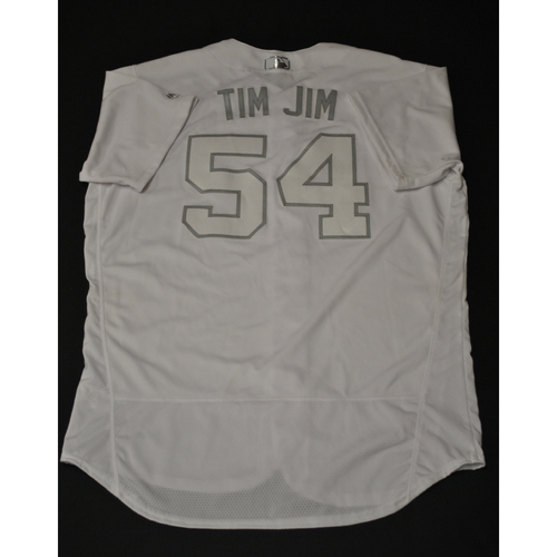 "Photo of Tim ""TIM JIM"" Hill Kansas City Royalss Game-Used 2019 Players' Weekend Jersey"