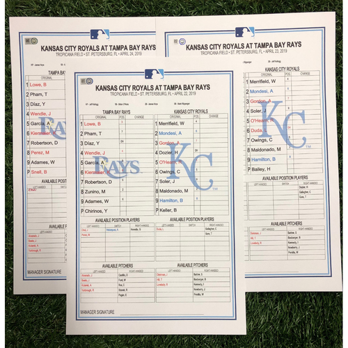 Photo of Replica LineUp Cards: April 22-24, 2019 v KC