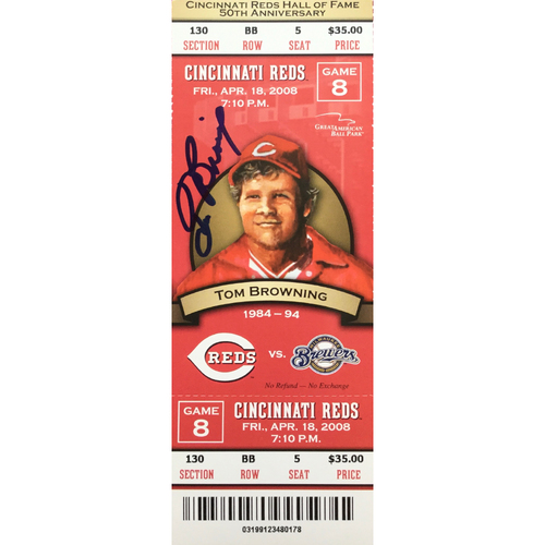 Photo of Tom Browning Signed Ticket
