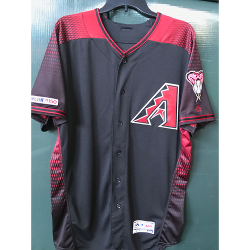 Photo of Kevin Ginkel Game-Used Black Alternate Jersey -- 8/17/19 vs. Giants; 1 IP, 2 K's