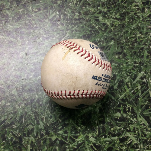 Photo of Game-Used Baseball WSH@MIL 05/06/19 - Max Scherzer - Orlando Arcia: Double (INCLUDES FREE SHIPPING & FREE 2020 GAME-READY 50TH ANNIVERSARY BASEBALL)