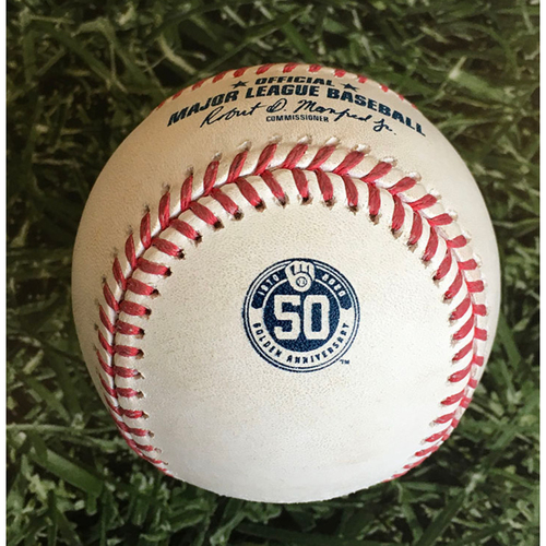 Photo of Game-Ready Baseball - 2020 Milwaukee Brewers Home Game - Commemorative 50th Anniversary Logo