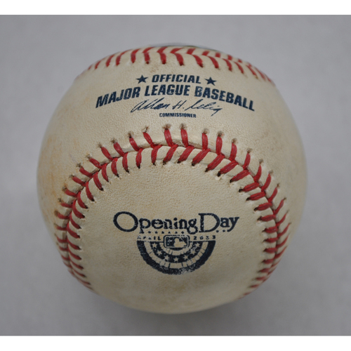 Photo of Game-Used Baseball - SD at COL - 4/5/13 - Batter - Jedd Gyorko, Pitcher - Jeffrey Francis, Top of 3, Swinging Strike, Ball in Dirt - Opening Day