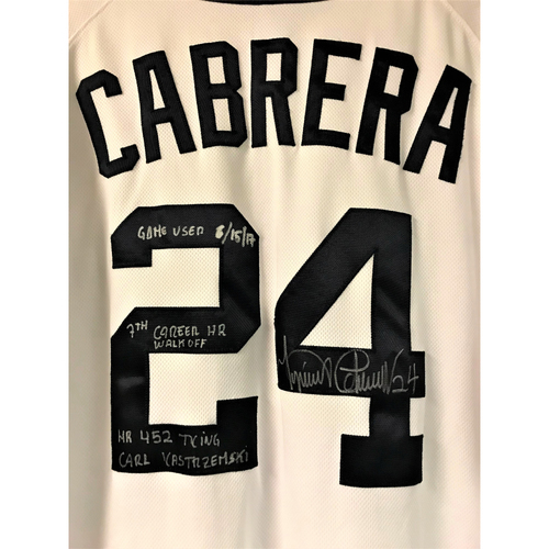 Photo of Cabrera Exclusive! Miguel Cabrera Autographed Game-Used Walk-Off Home Run Jersey with Inscription (HR #452) (MLB AUTHENTICATED)